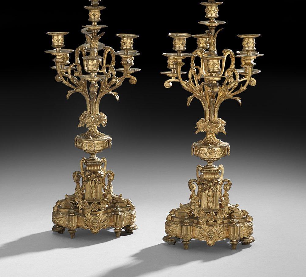 Pair of Napoleon III Gilt-Bronze Candelabra