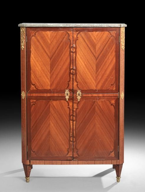 Louis XVI-Style Mahogany and Marble-Top Cabinet