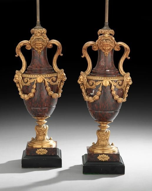 Pair of French Gilt-Bronze and Marble Lamps