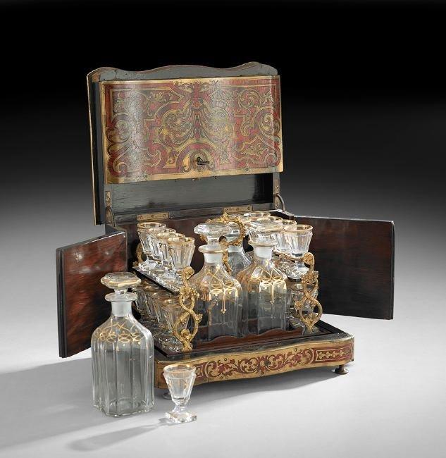 Napoleon III Boulle, Crystal & Bronze Liquor Set