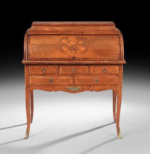 Louis XV-Style Mahogany Bureau Cylindre