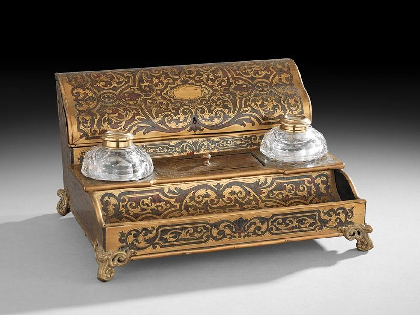 Napoleon III Boulle-Work and Crystal Encrier