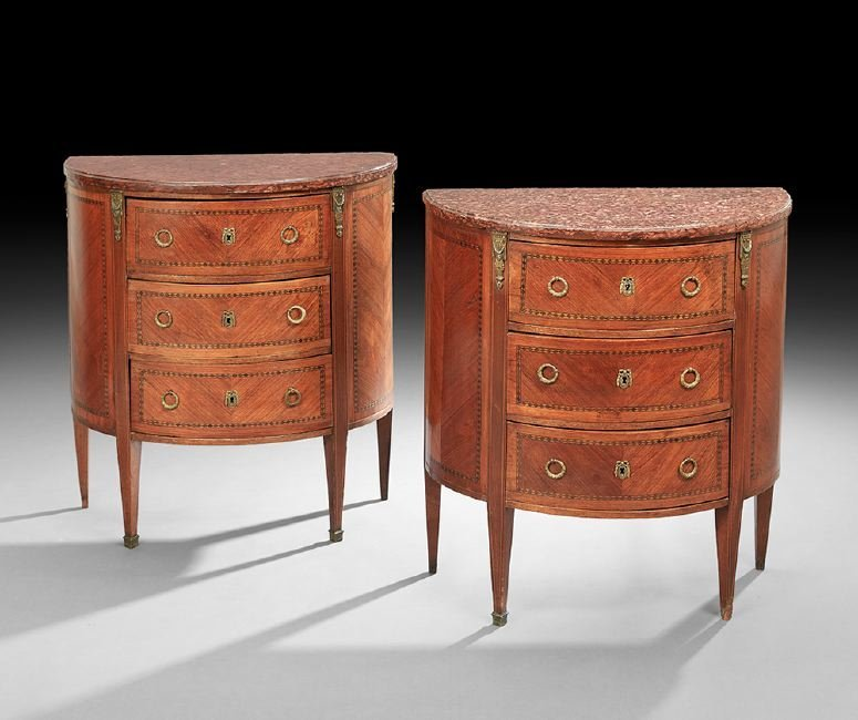 Pair of Louis XVI-Style Marble-Top Commodes