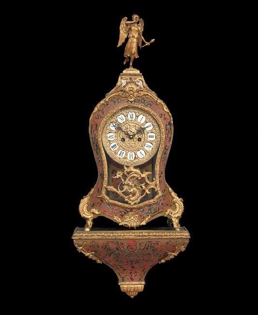 German Bronze-Trimmed Boulle-Work Bracket Clock