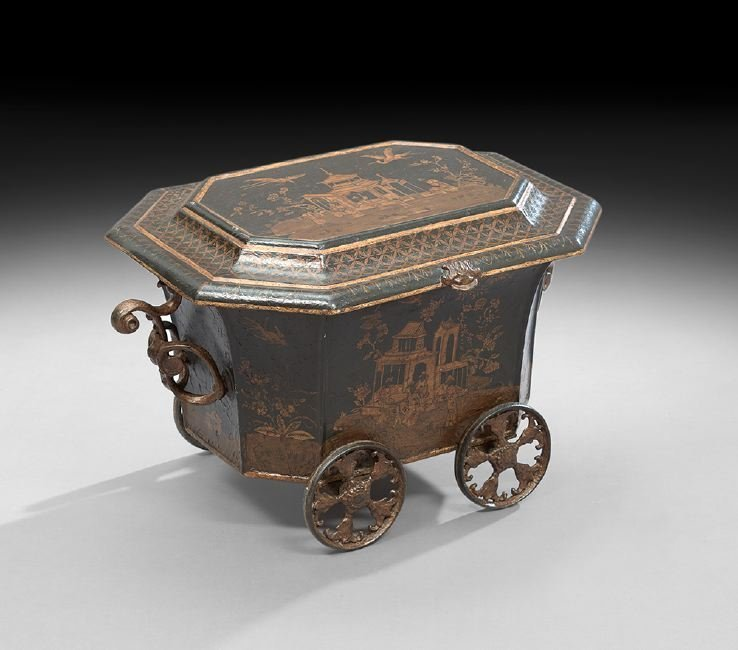 William IV Chinoiserie-Painted Tole Wine Carriage