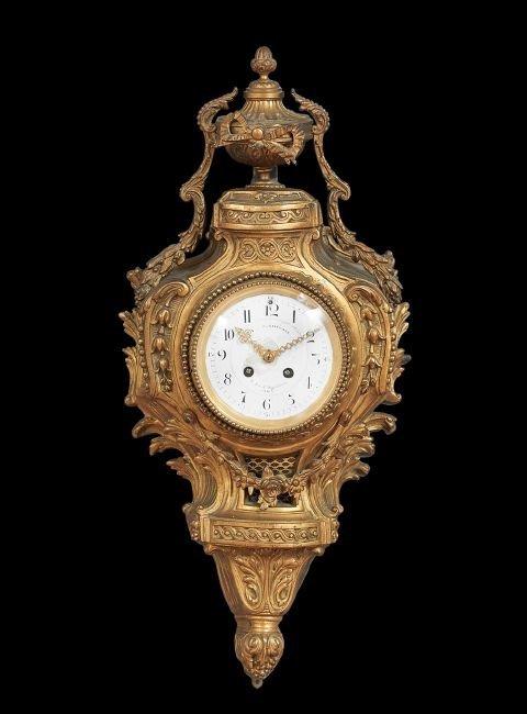 Louis XV-Style Gilt-Bronze Cartel Clock