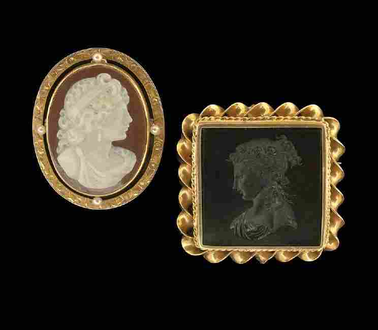 Two 14 Kt. Gold Hardstone Victorian Brooches