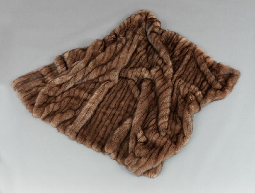 Chocolate Brown Silk Velvet-Lined Sable Throw