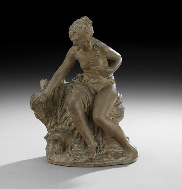 French Terracotta Figure Depicting Venus Bathing