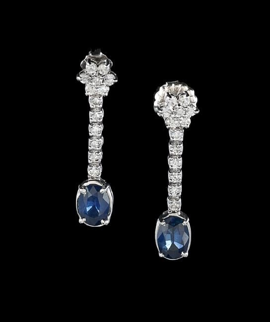 Pair of 14 Kt. Gold, Diamond & Sapphire Earrings