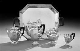 Christofle Gallia Art Deco Silverplate Tea Set