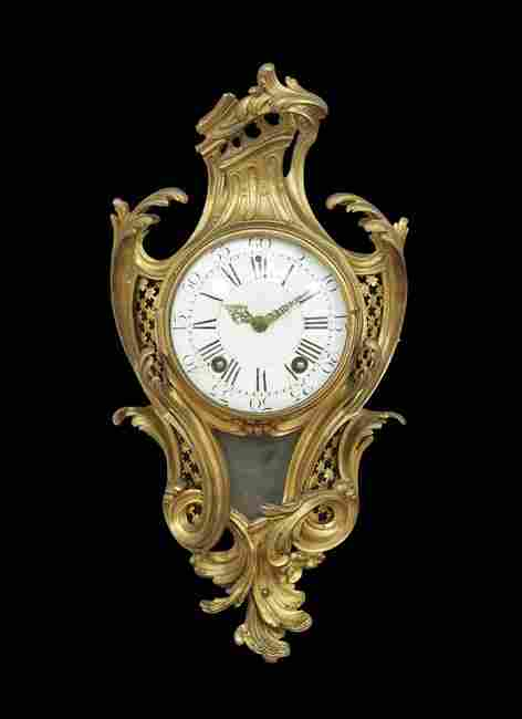 French Gilt-Bronze Cartel Clock