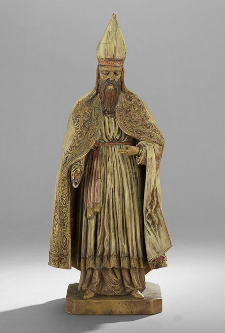 Continental Carved and Painted Figure of a Bishop