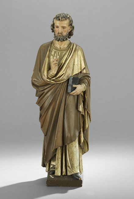 Carved and Polychrome-Painted Figure of St. Peter