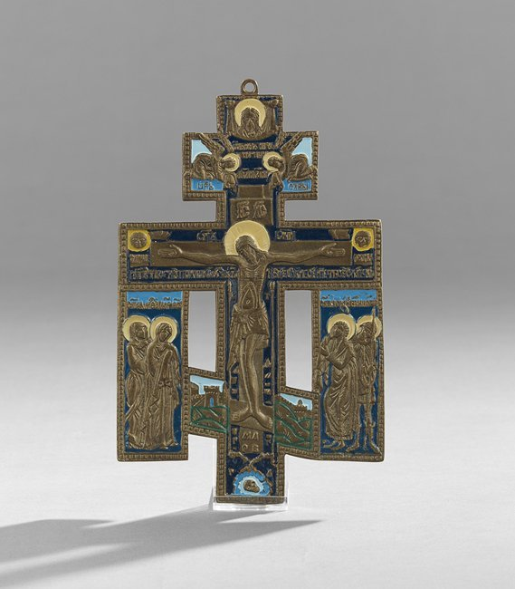 Russian Orthodox Bronze and Enamel Coptic Cross