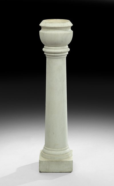 Italian Block and Turned Marble Holy Water Font
