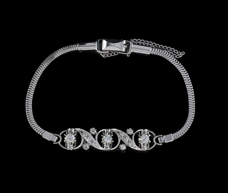 14 Kt. Gold and Gold-Filled Diamond Bracelet