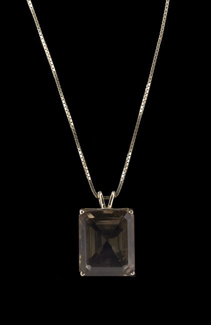 14 Kt. Gold Chain with a Smoky Quartz Pendant