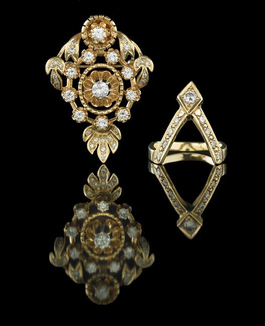 14 Kt. Gold and Diamond Brooch and Ring Set