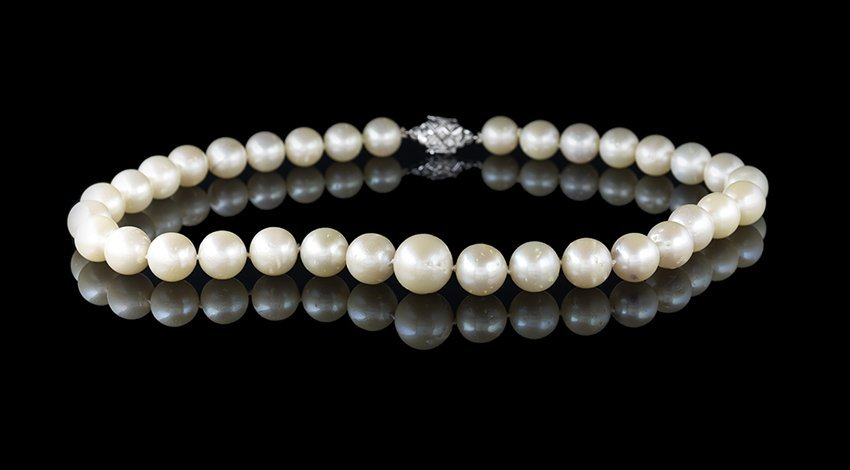 18 Kt. Gold, Diamond and South Sea Pearl Necklace