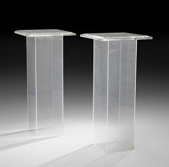 Pair of Mid-Century Modern Lucite Pedestal Tables