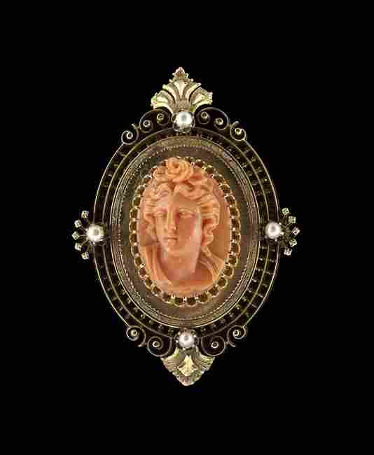 14 Kt. Gold Victorian Coral Cameo & Pearl Brooch
