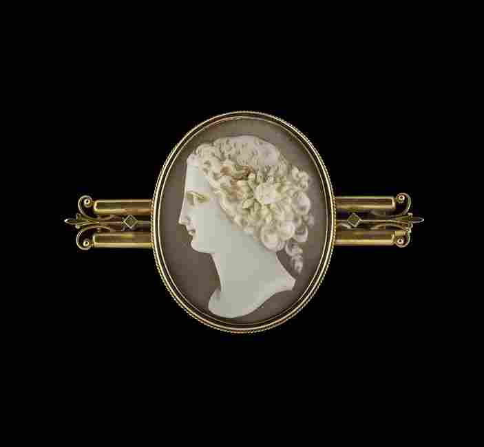 14 Kt. Yellow Gold Victorian Cameo Brooch