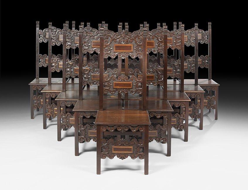 Fourteen Spanish-Style Mahogany Dining Chairs