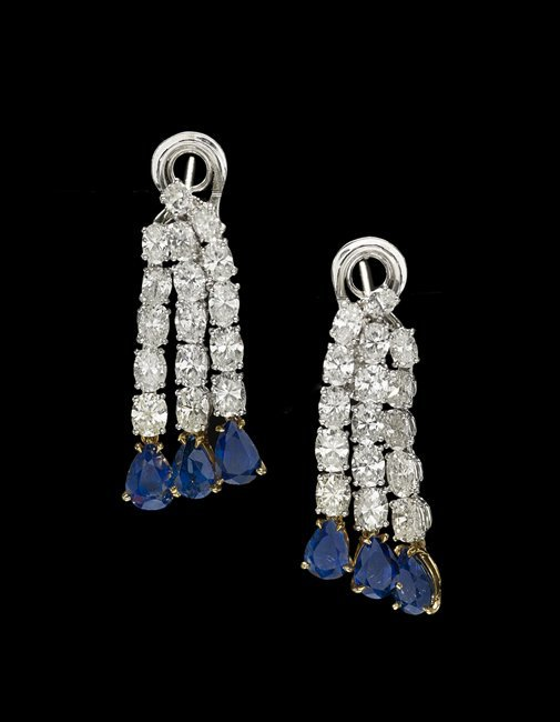 Platinum, 14 Kt., Diamond and Sapphire Earrings