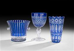 3 Pieces of Bohemian Cobalt Cut-to-Clear Glass
