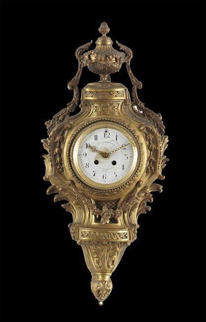 Louis XIV-Style Gilt-Bronze Cartel Clock Set