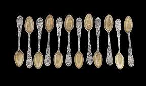 12 Tiffany Chrysanthemum Sterling Coffee Spoons