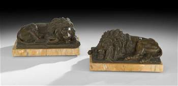Pair of French Bronze Bookends of Recumbent Lions