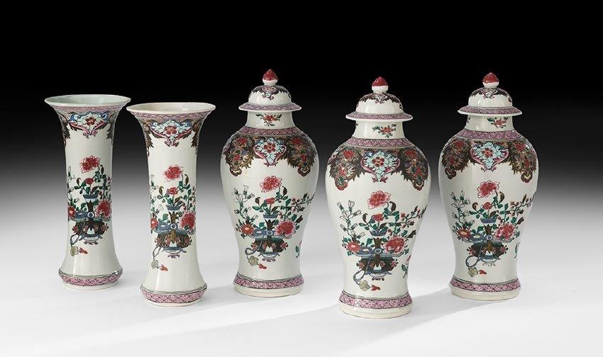 Chinese Famille Rose Five-Piece Garniture Set