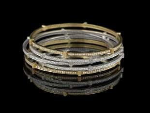 Five Judith Ripka Gold and Diamond Bangles