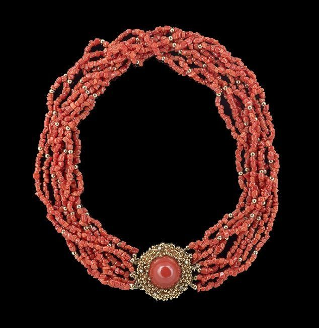 Tiffany & Co Gold, Diamond and Coral Necklace