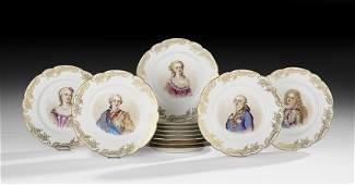 Set of Twelve French Porcelain Cabinet Plates