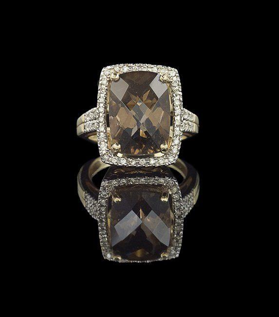 14 Kt. Yellow Gold, Smoky Quartz and Diamond Ring