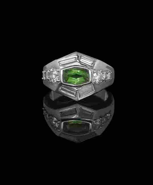 18 Kt. White Gold, Diamond and Garnet Ring