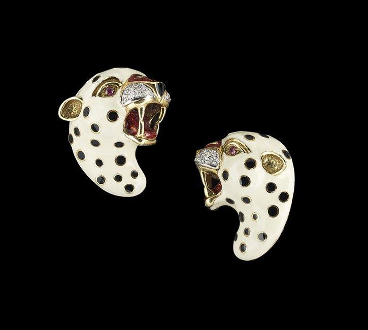 Gold, Gemstone and Enamel Leopard Ear Clips