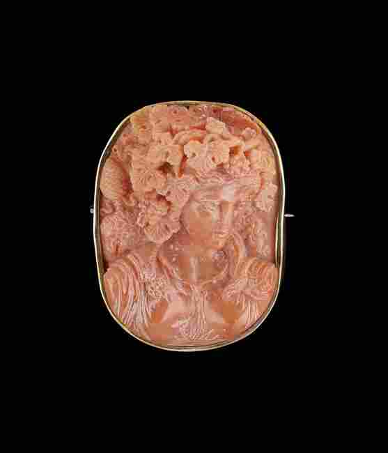 14 Kt. Gold Victorian Coral Cameo Brooch
