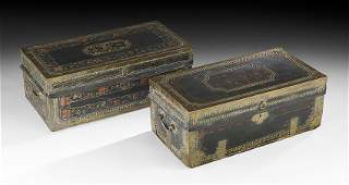 Two Chinese Export Graduated Brass-Bound Trunks
