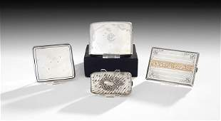 Four European and American Silver Cigarette Cases