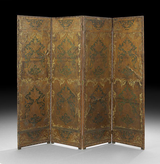 Continental Painted Leather Four-Panel Screen