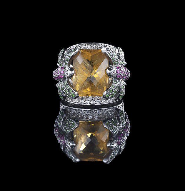 18 Kt. Gold, Citrine, Diamond, Garnet & Ruby Ring