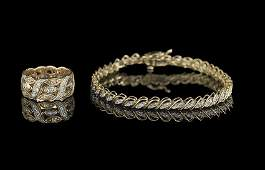 1014 Kt Gold and Diamond Bracelet  Ring