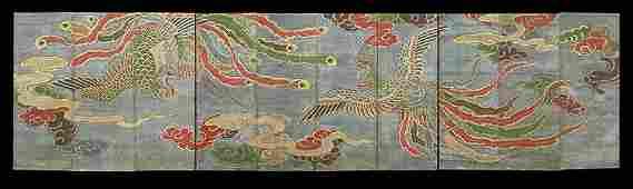 Impressive Japanese Ten-Panel Folding Screen