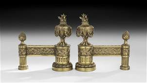 Handsome Pair of French GiltBronze Chenets