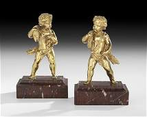 Pair of French Gilt-Bronze Putti-Form Pecheurs