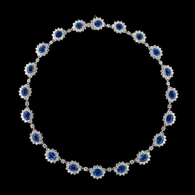 18 Kt. White Gold, Sapphire and Diamond Necklace